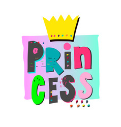 princess crown shirt print quote lettering vector image