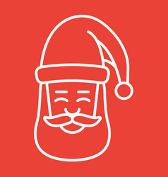 santa claus face line icon new year and christmas vector image vector image