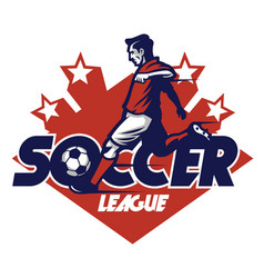 soccer player shooting badge vector image