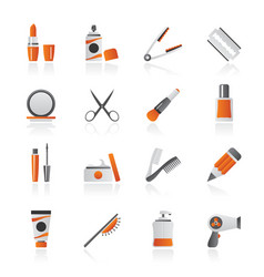 beauty and cosmetics icons vector image vector image