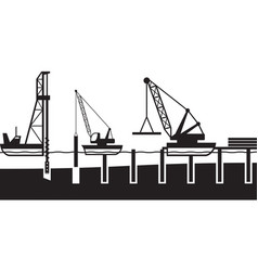 construction of sea port vector image