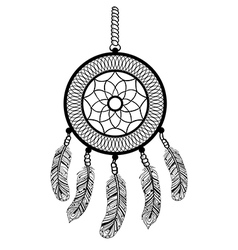 Ethnic Boho dream catcher with feathers American vector image