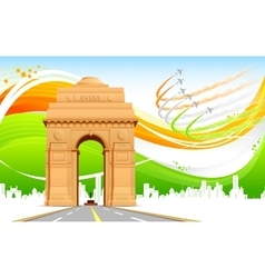 India Gate on Tricolor Background vector image