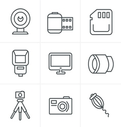 Line Icons Style Photography Icons Set Design vector image