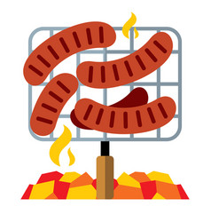 sausages on the grill flat style colorful vector image
