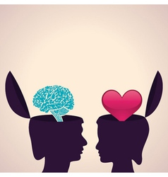 Thinking concept-Human head with brain and heart vector image vector image
