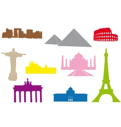 World monuments silhouettes vector