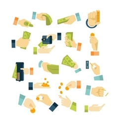 Money in Hands Icons Flat Style Set vector image
