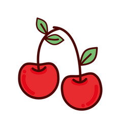 Red delicious cherry healthy fruit vector
