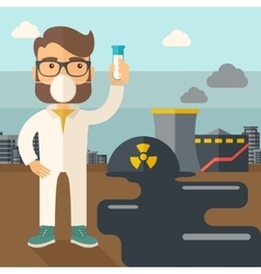 Scientist with mask and test tube vector image vector image