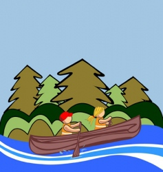two kids canoe vector image vector image
