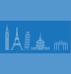 white landmarks sketch on blue vector image