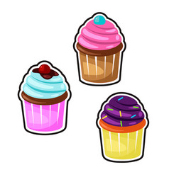 delicious cupcakes and set isolated vector image