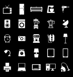 household icons on black background vector image