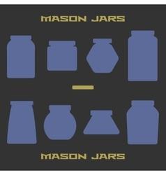 Mason jars silhouette icons set Design suitable vector image vector image