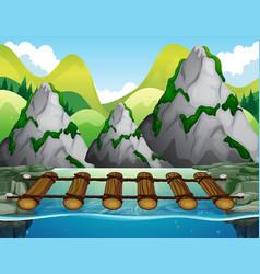 wooden bridge across the river vector image