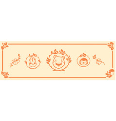 woodland animals icon set characters bear vector image