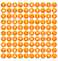 100 garden stuff icons set orange vector