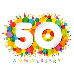 50 years anniversary paper colorful logo vector