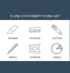 6 stationery icons vector