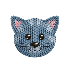 A funny knitted cat toy head on white background vector