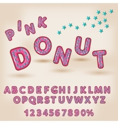 Alphabet in style of comics donut funny letters vector image