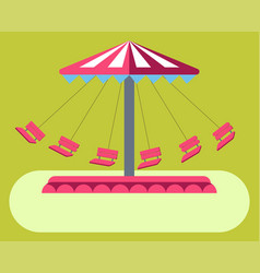 Amusement park attractions swing ride carousel vector