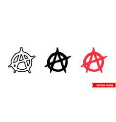 Anarchy symbol icon 3 types color black vector