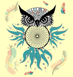 artistic owl with dreamcatcher graphic arts vector image