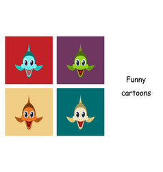 Assembly of flat icons on theme funny animals fish vector