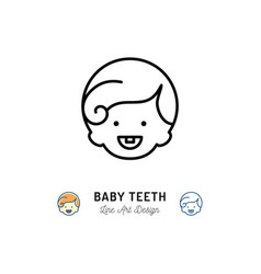 Baby teeth icon little boys with first tooth vector