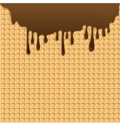 background with melting chocolate on wafer vector image