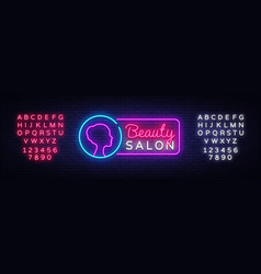 beauty salon neon sign beauty salon design vector image