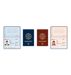 Blank open passport template international vector