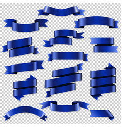 Blue web ribbons set vector