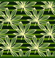 bright yellow outline marijuana leaves seamless vector image