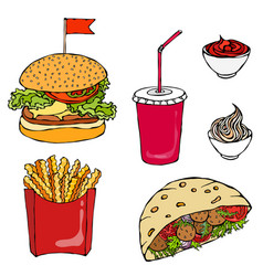 burger cola cup with straw french fries ketchup vector image