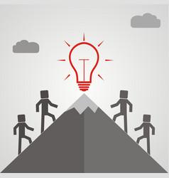 businessman climbing mountain to accomplish his vector image