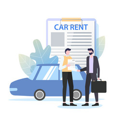 Businessman rent car dealer business travel vector