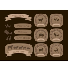 Butcher shop logotypes and farm animals vector