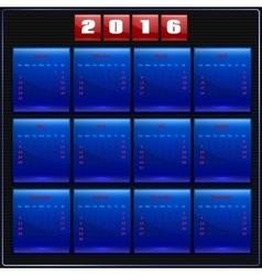 Calendar 2016 Sunday first 12 months blue vector