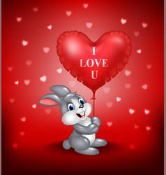 Cartoon bunny holding red heart balloons vector