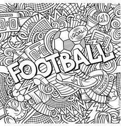 Cartoon cute doodles hand drawn football vector