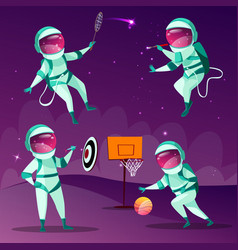cartoon spacemen playing games in cosmos vector image