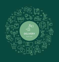 Circular template delivery logistic set in flat vector
