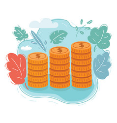 coins stack money vector image