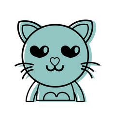 Color enamored cat adorable feline animal vector