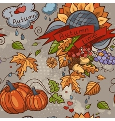 Colored contour seamless texture autumn theme vector