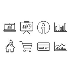 Column chart credit card and online statistics vector