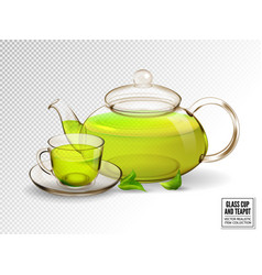 composition of a glass cup and tea pot with green vector image